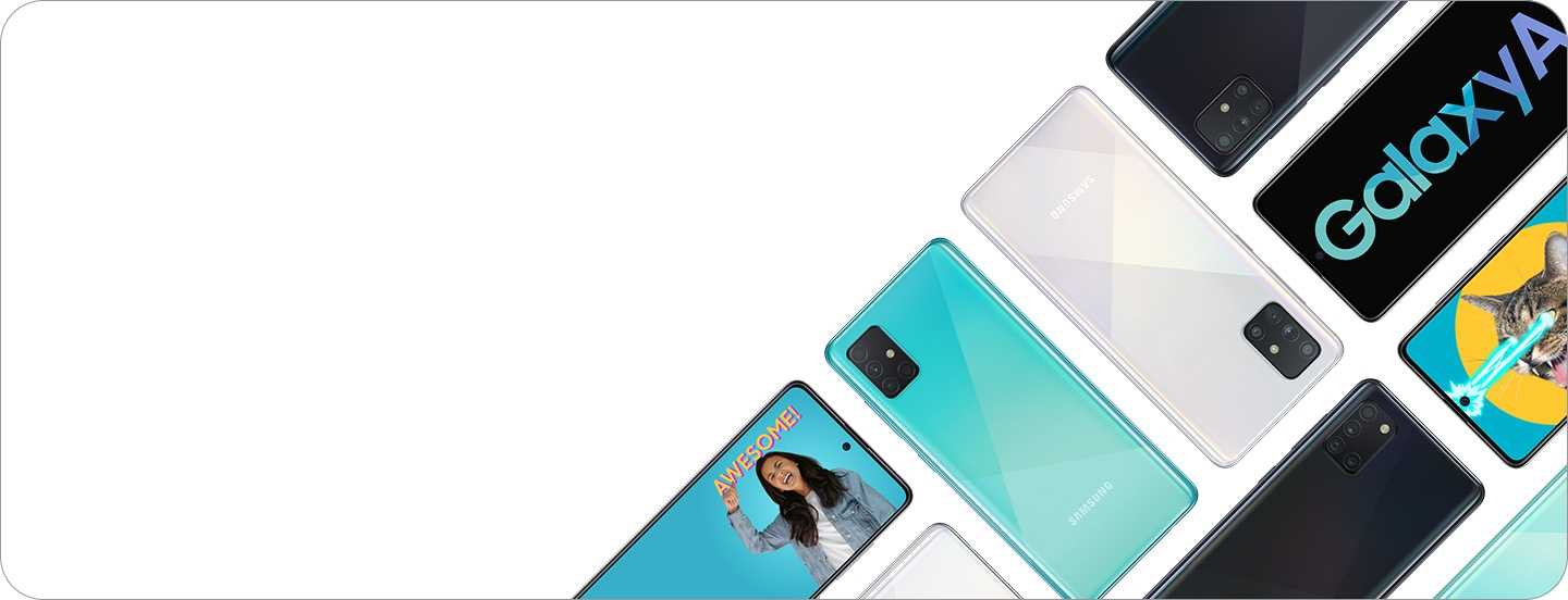 Diagonally placed Galaxy A smartphones. Some are on their front and some are on their back with texts or illustrations.