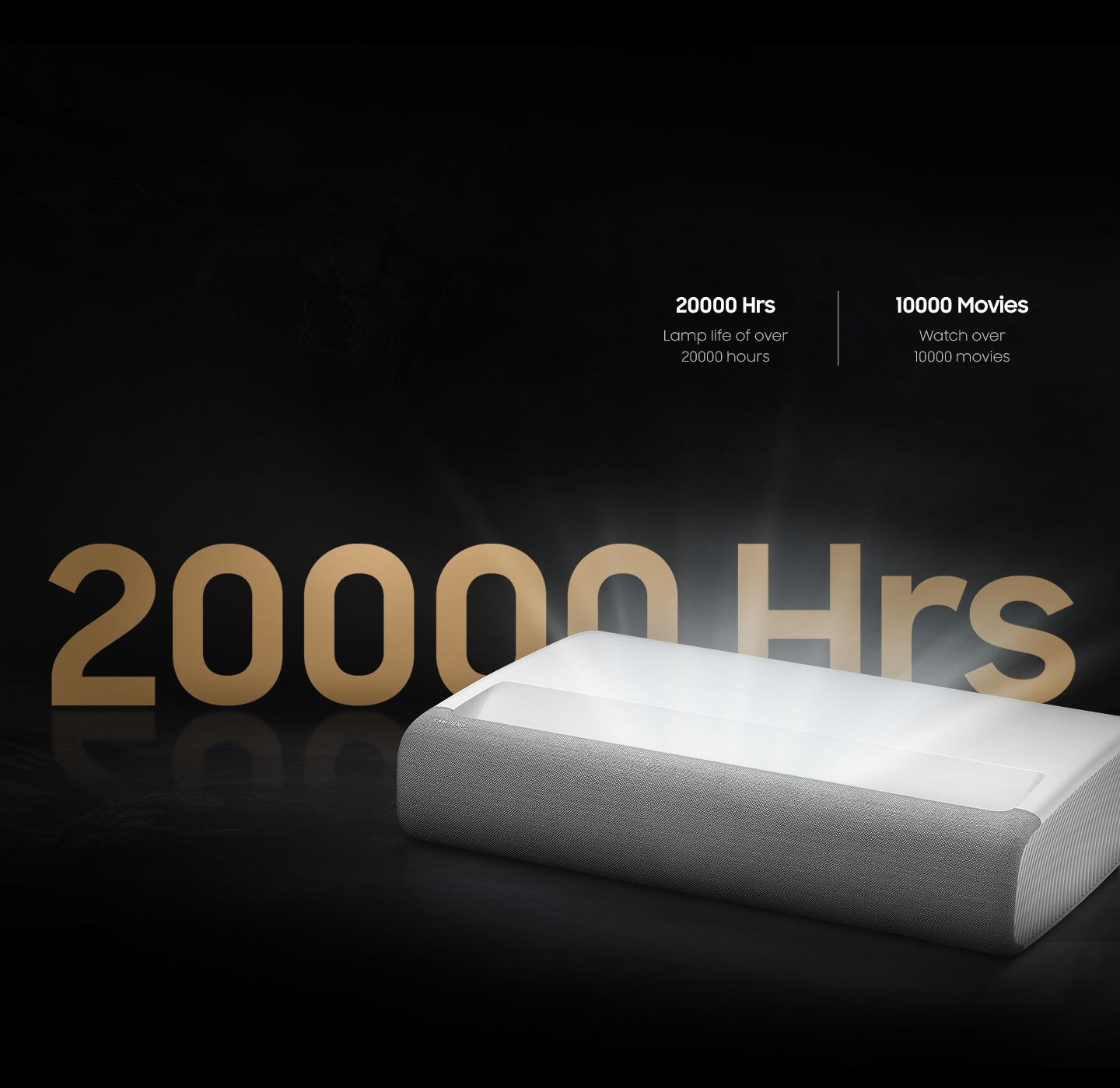 Home cinema projector The Premiere has a lifespan of over 20,000 hours that you can enjoy watching over 10,000 movies.