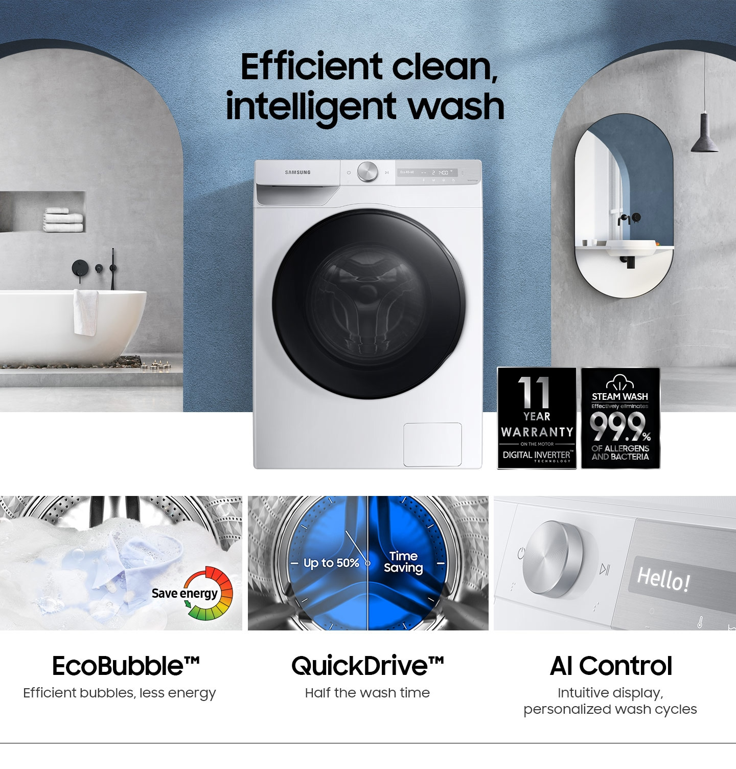WD7300T is germ-free, and 10-year warranty with EcoBubble, QuickDrive, and AI Control functions.