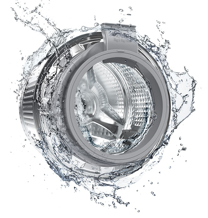 The washer drum is surrounded by clean water and water jets are cleaning the inside.