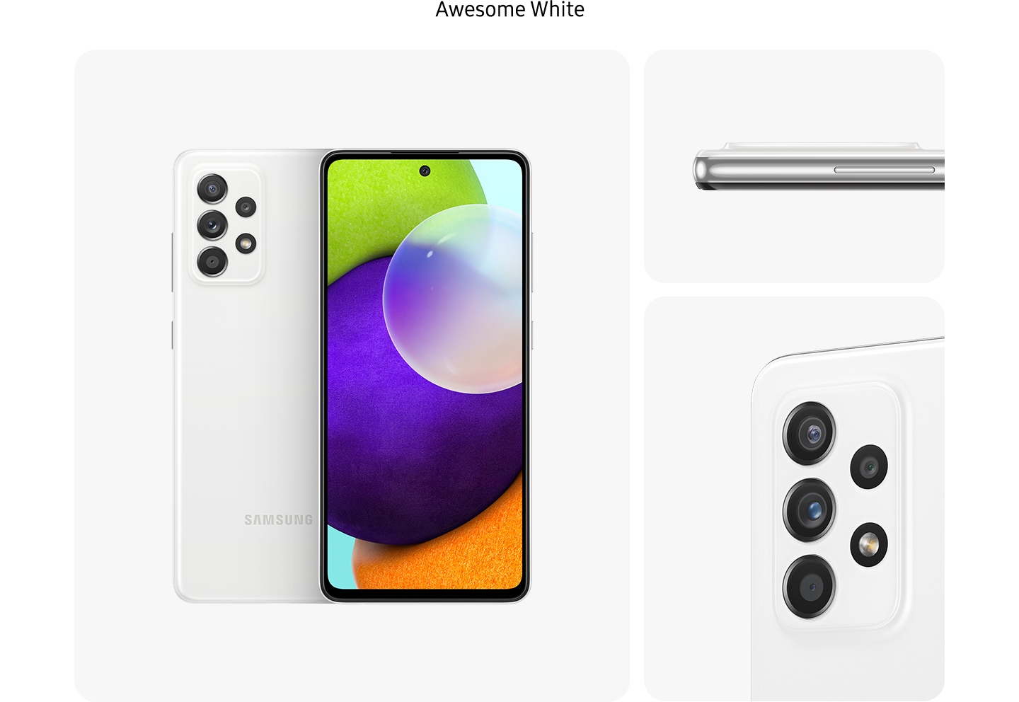 White Galaxy A52 in Awesome White, seen from multiple angles to show the design: rear, front, side and close-up on the rear camera. 4. Blue Galaxy A52 in Awesome Blue, seen from multiple angles to show the design: rear, front, side and close-up on the rear camera.