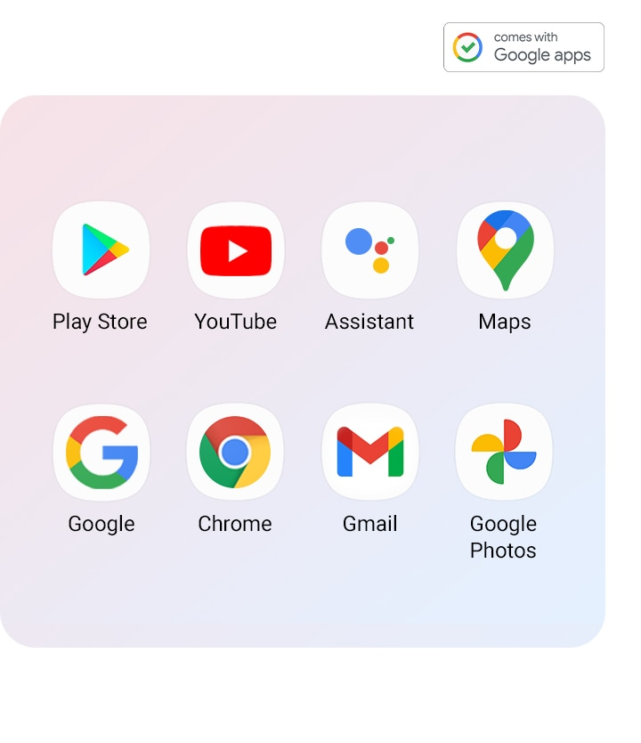 Google apps supported on Galaxy A12 are aligned (Play Store, YouTube, Assistant, Maps, Google, Chrome, Gmail, Google Photos)