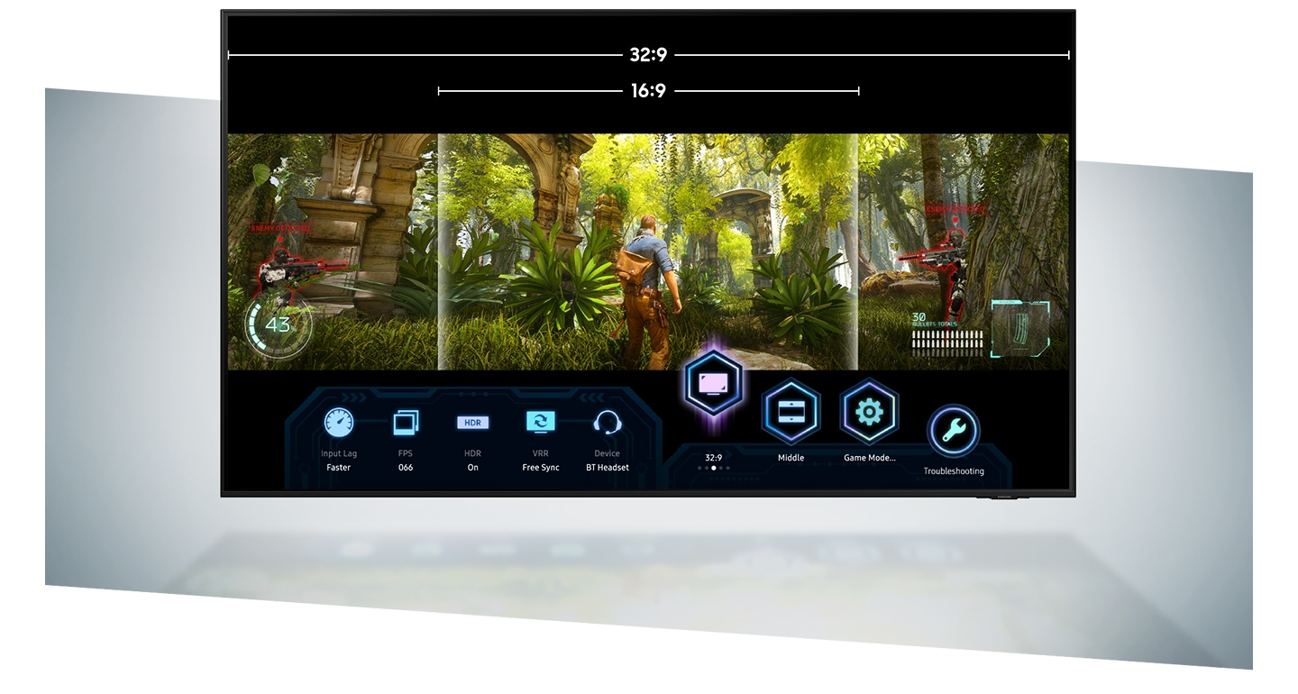 UHD TV 32:9 and 16:9 aspect ratio options of super ultrawide gameview which are being accessed during video game gameplay through UHD TV Game Bar which allows more in-game controls of various settings.