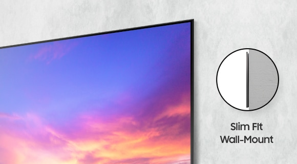 A close-up view of AU9000 shows the narrow gap between TV and wall. The word Slim Fit Wall Mount can be seen on the side.