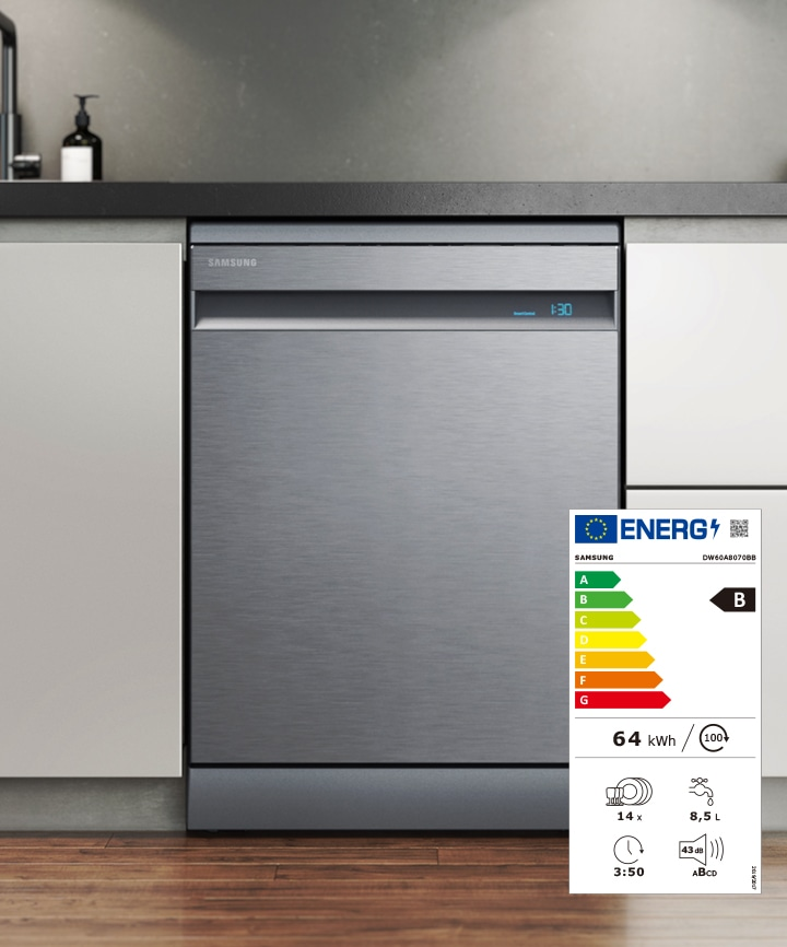 Shows the dishwasher's energy label, with its B rating and key Eco data - 64 kWh, 14x settings, 8.5L, 3:50 run time and 43dB.