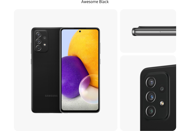 2. Galaxy A72 în Awesome Black, văzut din mai multe unghiuri, pentru a arăta designul: spate, față, lateral și un prim-plan al camerei foto din spate.