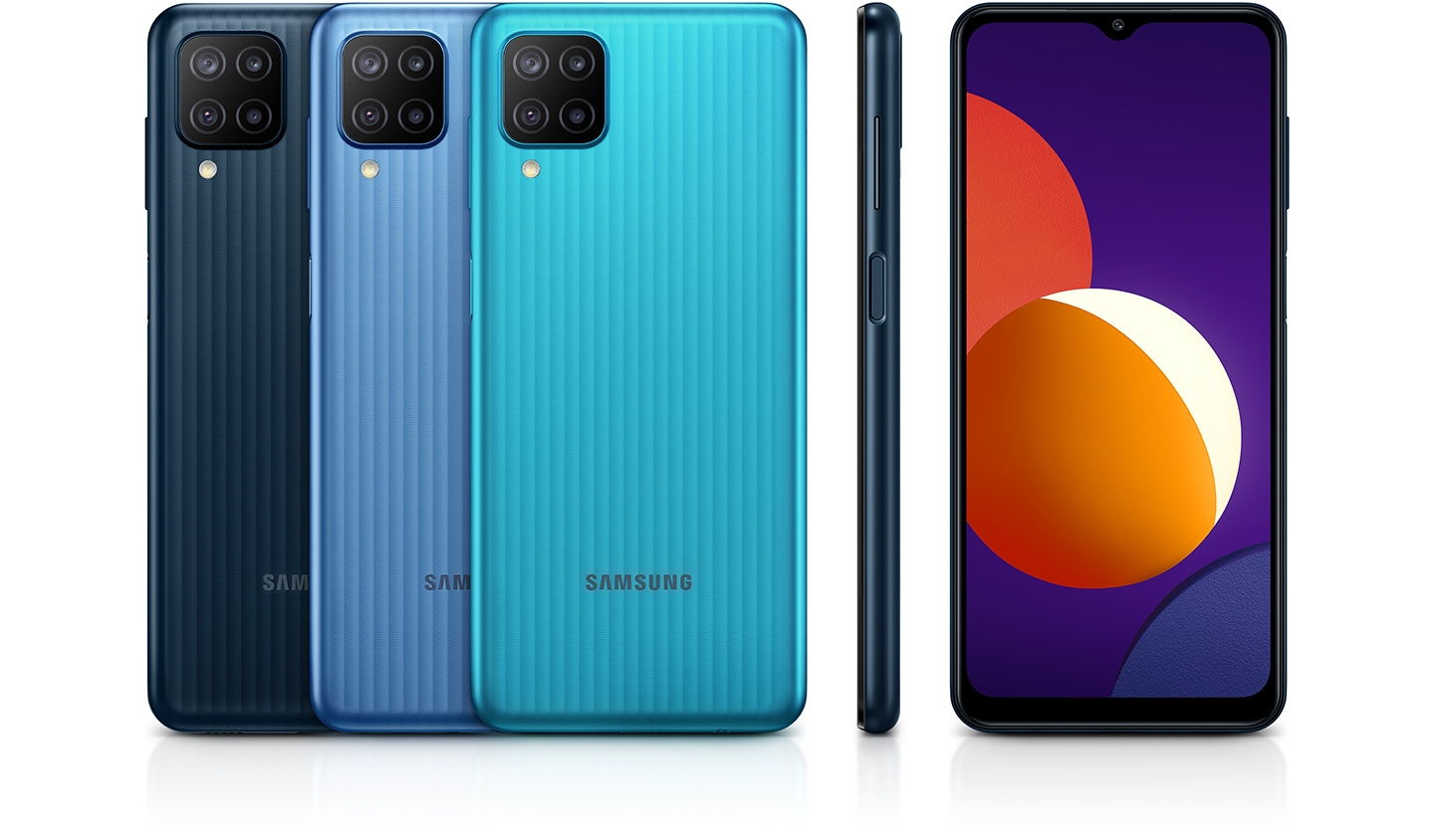 Five devices are showing colors and design. Three are reversed; one is on its side and the last one is looking at the front.
