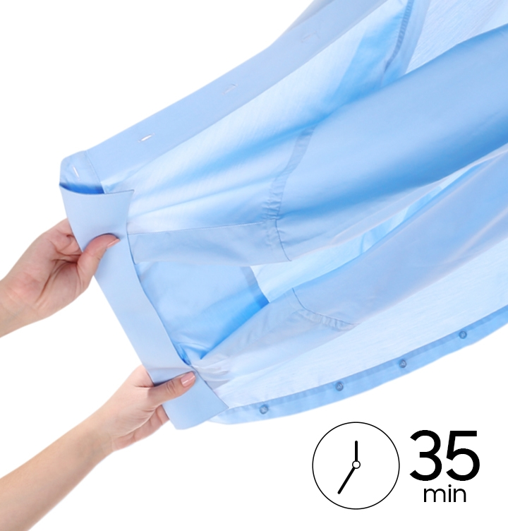 """Underneath a dried-up light blue shirt, there is a clock icon with the word """"35 minutes."""""""