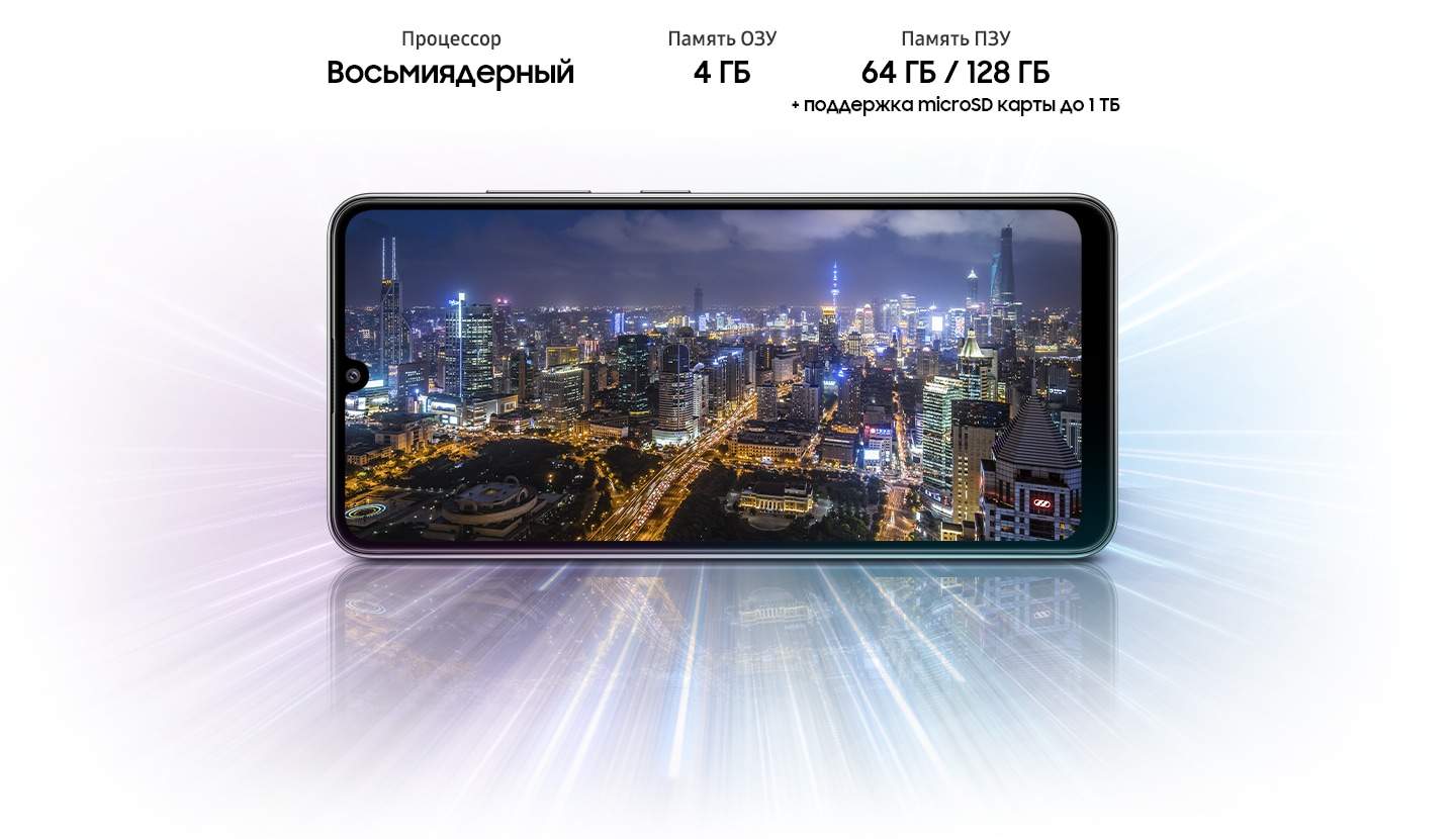 A32 shows night view of city, indicating device offers Octa-core processor, 4GB/6GB/8GB of RAM, 64GB/128GB of storage,up to 1TB Micro SD card.