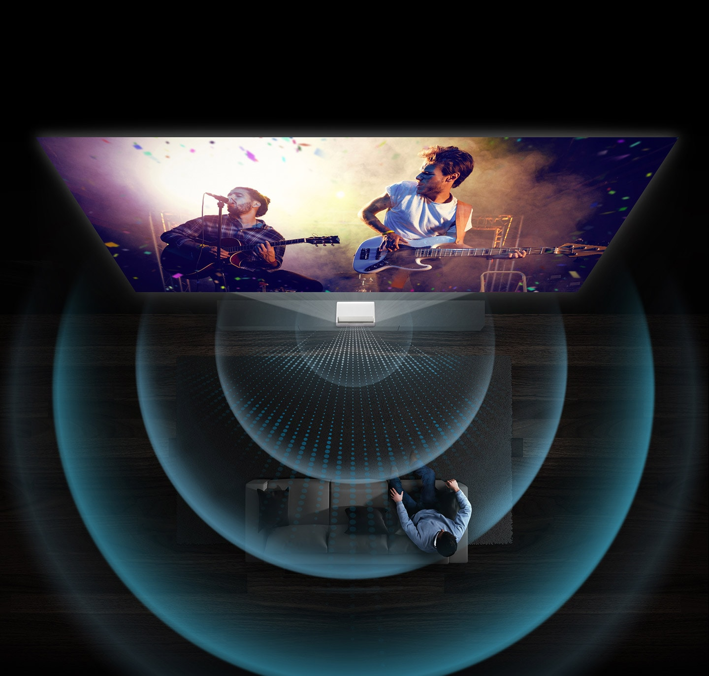 The band concert is shown on Samsung tv projector The Premiere with 4.2 channel 40 watt speakers providing premium sound.