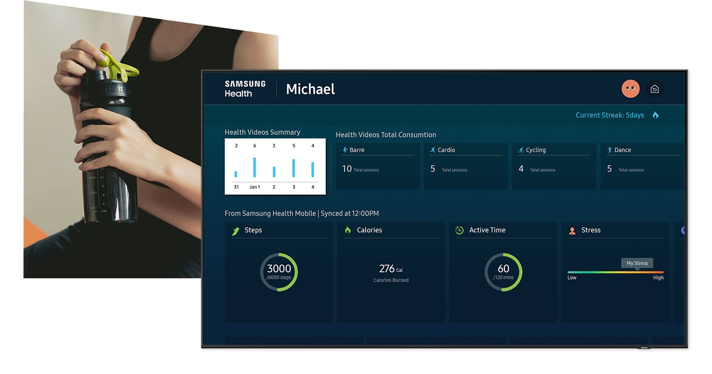 Samsung health dashboard on Neo QLED shows mobile synced health data and user home fitness progress in one place.