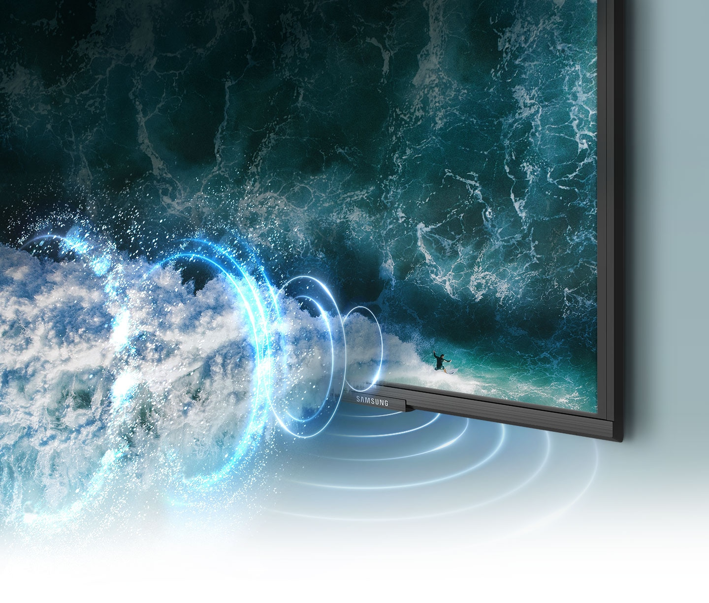 Simulated sound wave graphics demonstrate object tracking sound technology as it follows a surfer across the TV screen.