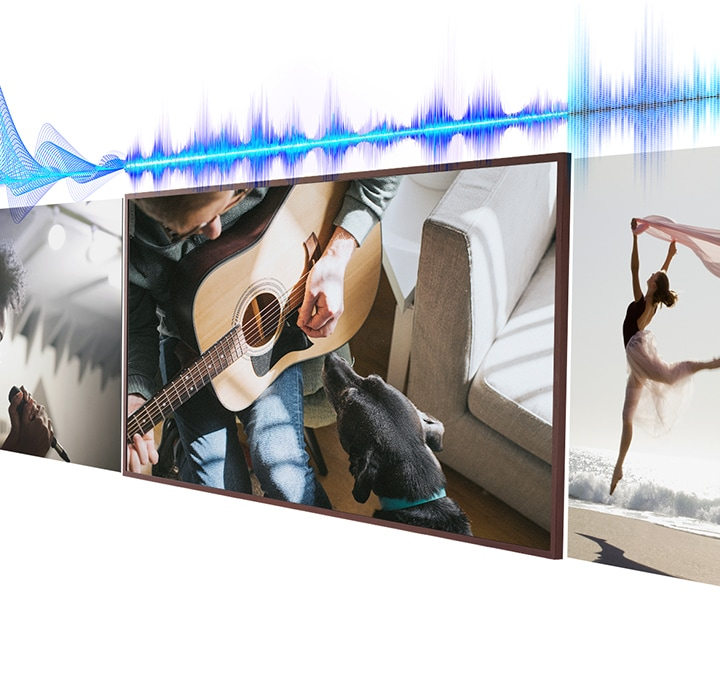 An audio properties graphic is seen above three content scenes including a singer singing, a man playing guitar and a ballerina dancing on the beach. Above each scene the audio properties graphic has a different appearance according to the type of scene.