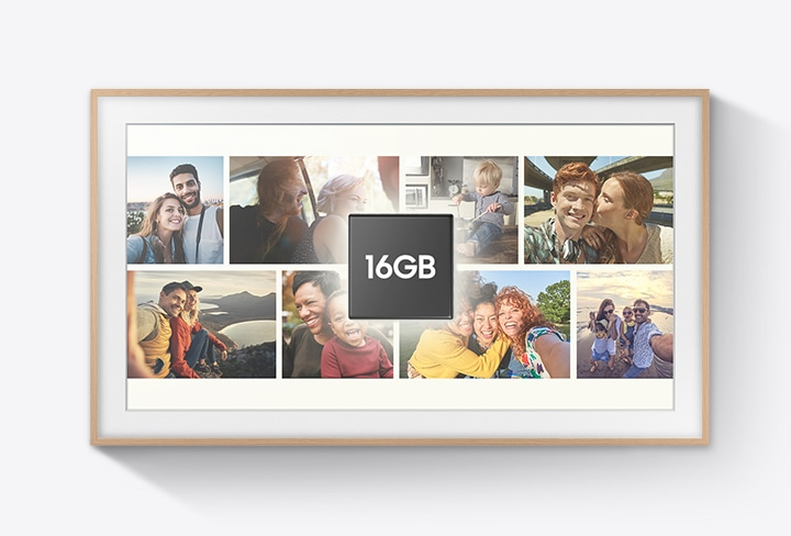 Various user photos of family and friends are displayed on The Frame. On top of the pictures is a black square graphic which shows the words 16 GB.