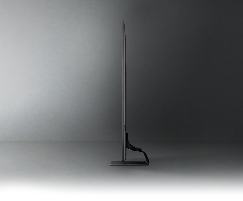 Profile view of QLED TV shows ultra slim design of QLED TV NeoSlim.