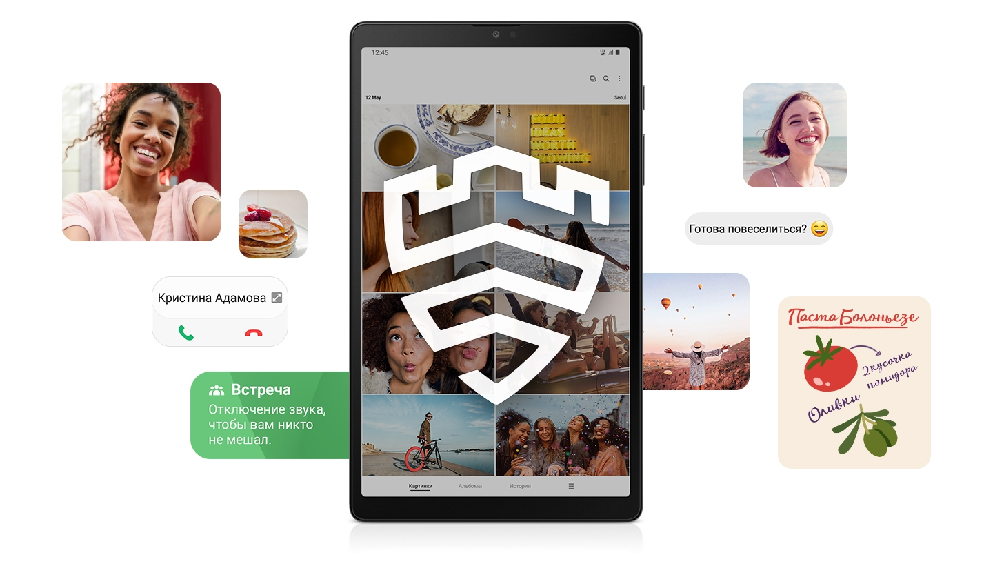 Galaxy Tab A7 Lite displays the Samsung Knox logo on its screen while photo and text message snippets appear around the tablet.