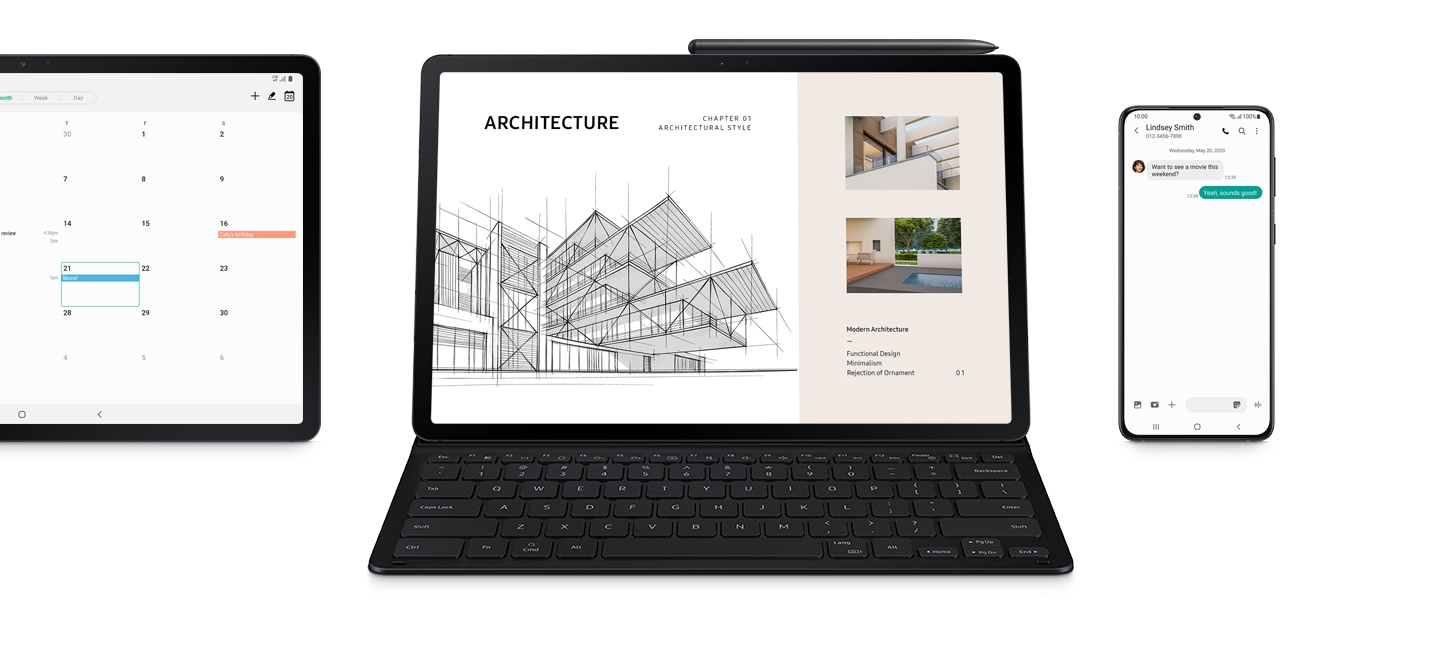 Galaxy Tab S7 FE, Galaxy Tab S7 FE in Book Cover Keyboard Slim, and a Galaxy phone. A calender is seen onscreen of the Tab S7 FE with an event titled Movie! The Tab S7 FE inside the cover has an architecture presentation onscreen. The S Pen is magnetically attached to the tablet. The Galaxy smartphone shows a message from Lindsey Smith: Want to see a movie this weekend? And the reply: Yeah, sounds good!
