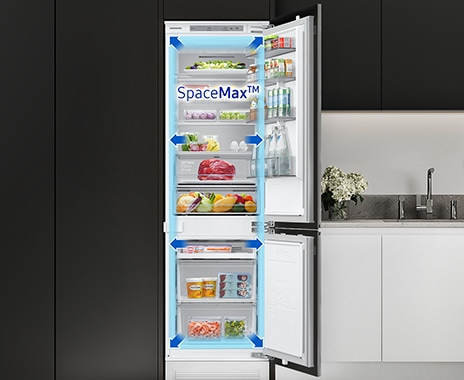 Blue arrow indicates BRB6000M's storage space is wider than conventional refrigerator.