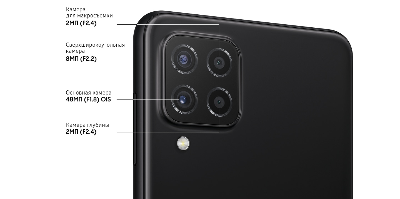 A rear close-up of advanced Quad Camera on the Black model, showing F1.8 48MP OIS Main Camera, F2.2 8MP Ultra Wide Camera, F2.4 2MP Depth Camera and F2.4 2MP Macro Camera.