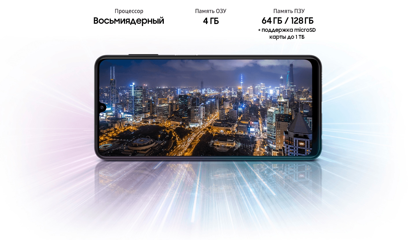 Galaxy A22 shows night city view, indicating device offers Octa-core processor, 4GB/6GB RAM, 64GB/128GB with up to 1TB-storage.