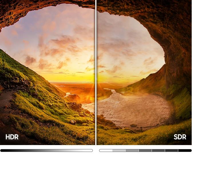 تُظهر صورة كهف الشاطئ على اليسار مقارنةً بصورة SDR على اليمين نطاقًا أوسع من مستويات الضوء والظلام بسبب تقنية HDR.
