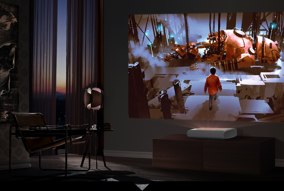The Premiere 2800 lumen projector is playing vividly an animation movie on dark wall at home without any outside influence.