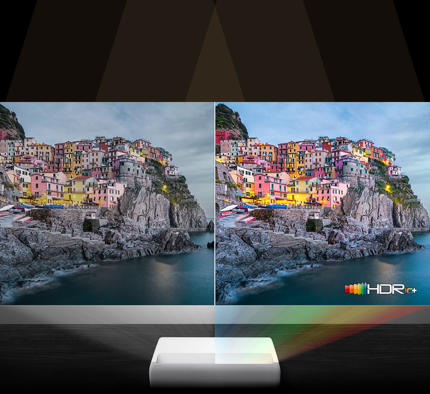Using laser technology, The Premiere is showing two screens for comparing hdr 10 plus and to emphasize 4K image quality.