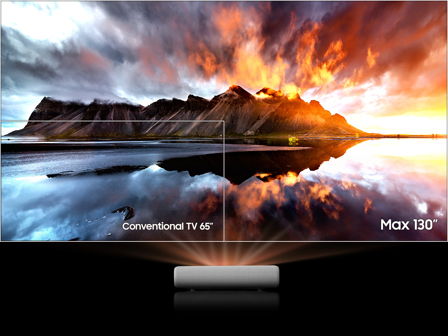 This video shows that contents can be viewed on a large screen through The Premiere. As the alphabet I area widens in the word BIG, it shows that The Premiere can project max 130 inches.