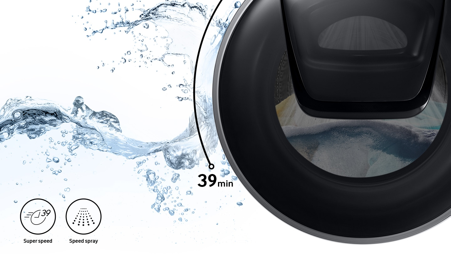 Strong water streams are visible inside the washer door while Super Speed and Speed Spray features are shown in icons.