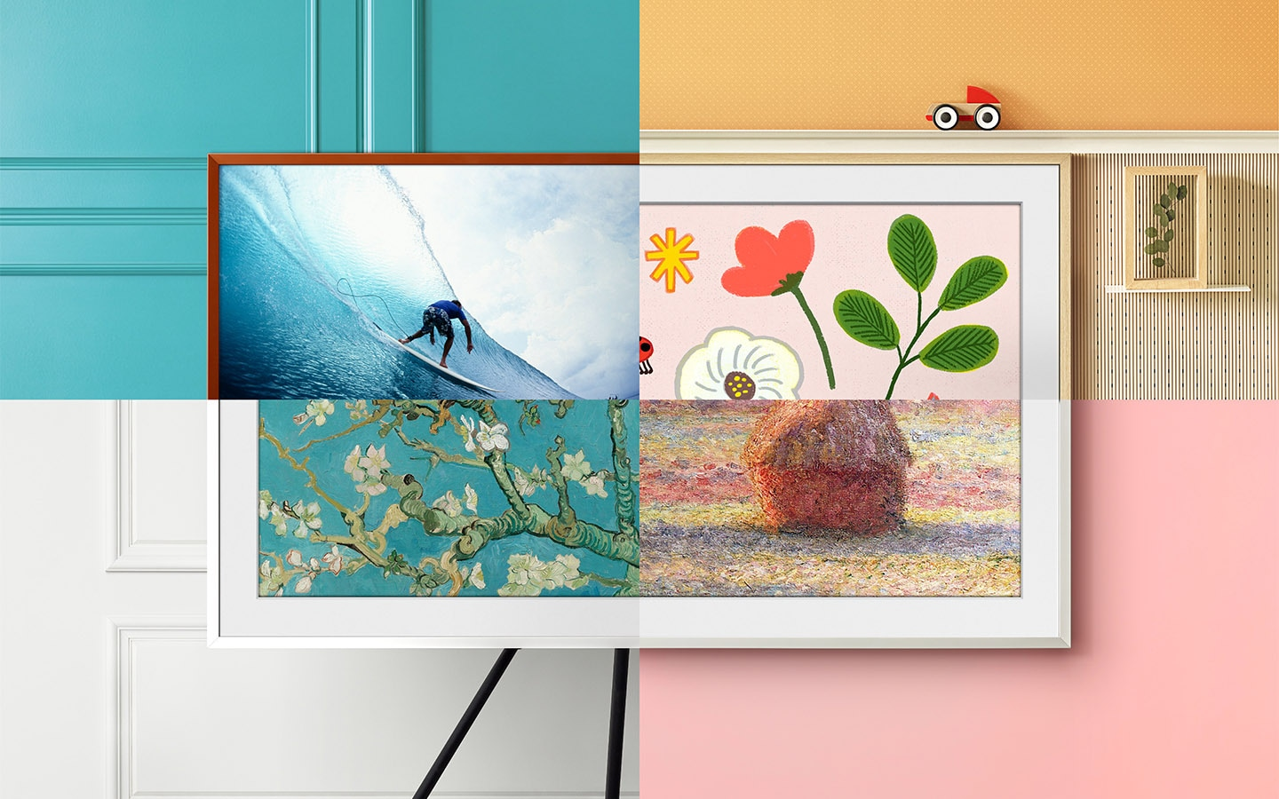 The Frame is divided into 4 cross sections. Each cross section is showing a different piece of artwork and highlighting one of various customizable features of The Frame including bezel color, bezel style, and studio stand accessory.
