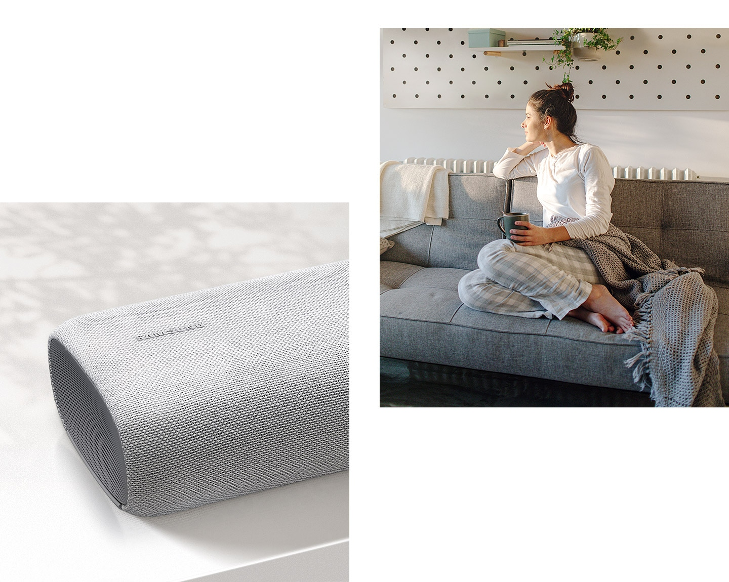 A combination of product and lifestyle images demonstrates how the S61A soundbar All-in-one design aesthetics blend into any room environment.