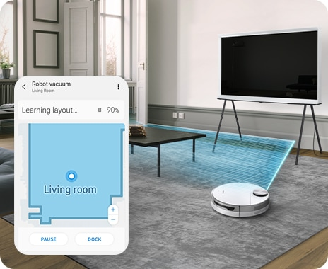Jet Bot 80 uses its LiDAR Sensor to learn the layout of a stylish living room before cleaning.