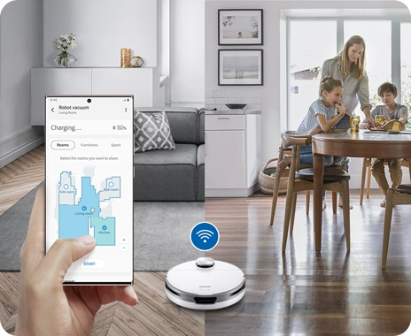 A JetBot is controlled remotely via SmartThings and upgraded Wi-Fi control, enabling scheduled cleaning in pre-set areas.