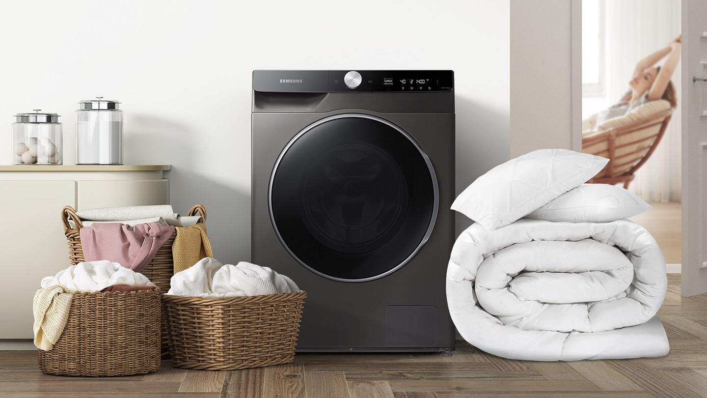 Around the WD7400T, there are three laundry baskets, a blanket and two pillows, which weigh about 12 kilograms.