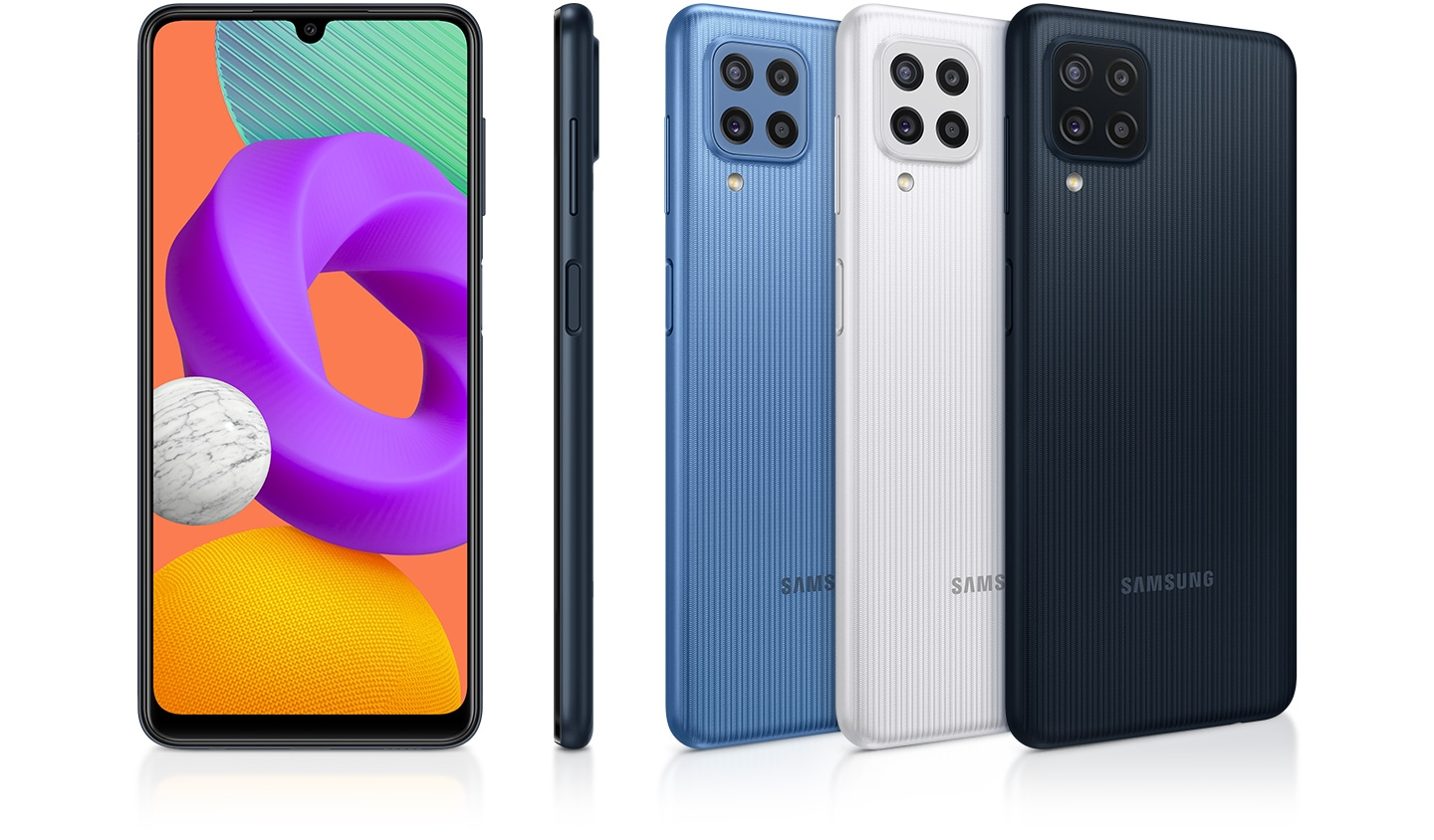 Five devices are displayed to appeal their colors and design. Three reversed ones are in sky blue, white and black; while one is looking at the front and another showing the right side of device.