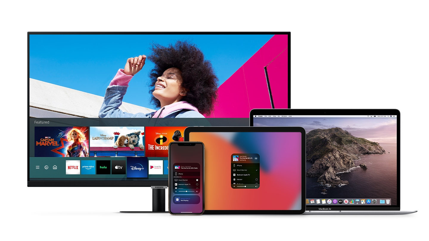 With integrated AirPlay 2, use Apple devices to work and play on the big screen. Improve your workflow by creating a wireless dual monitor setup with your MacBook and Smart Monitor. When it's time to relax, effortlessly enjoy videos, music, photos, and more from your iPhone or iPad.