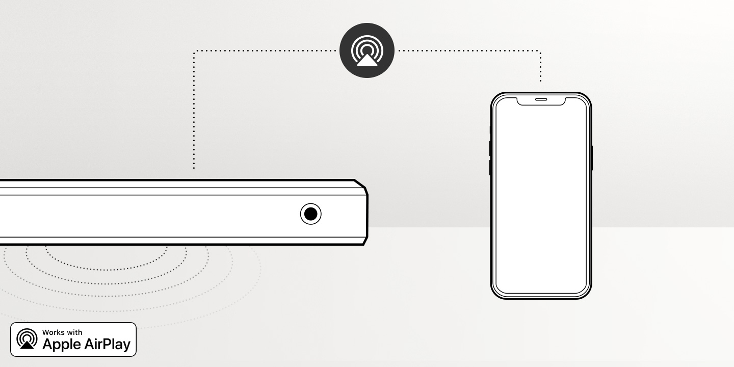 Illustration of the Samsung S60A Soundbar's built-in Apple AirPlay 2 feature which lets smartphone audio play through soundbar without the need to pair the devices.