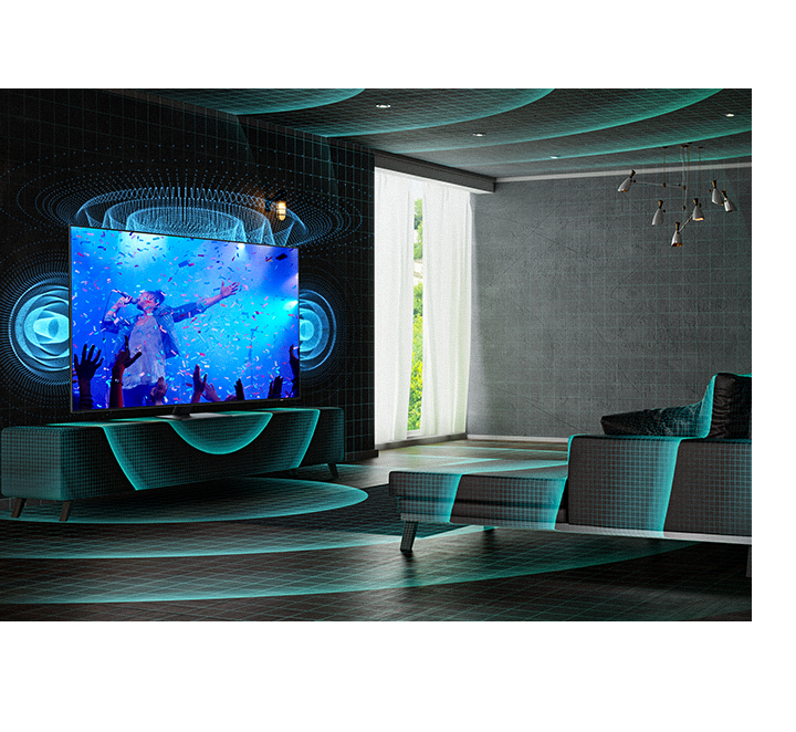 A QLED TV analyzes the entire space of the room and sends the optimized sound for the space.