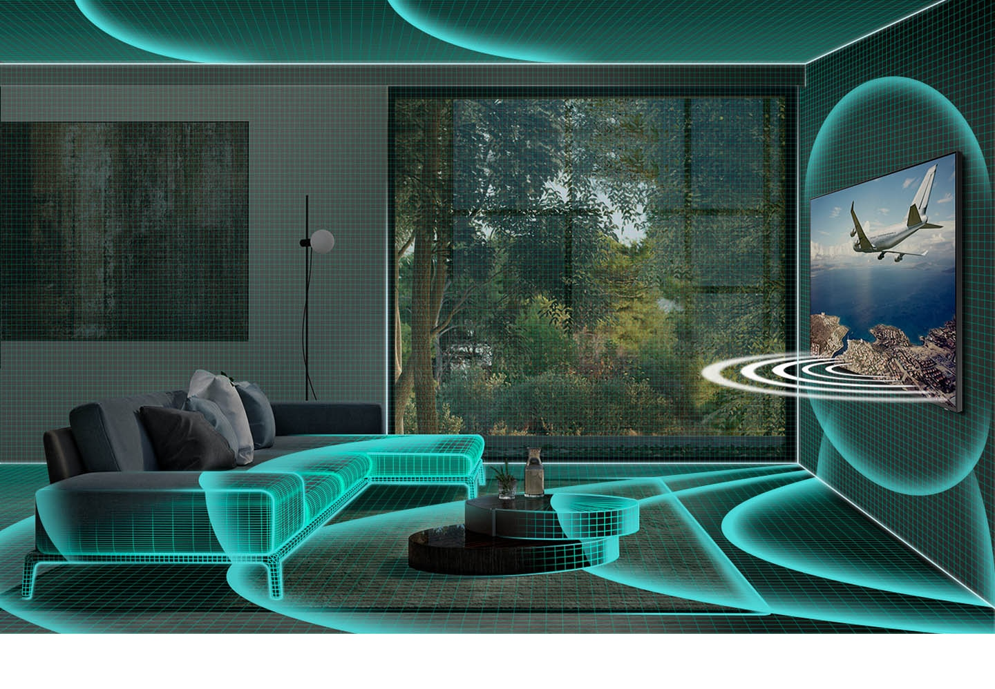 Soundwave graphics projecting from wall-mounted TV are spreading across the living room interior to demonstrate SpaceFit Sound room-analyzing capability.