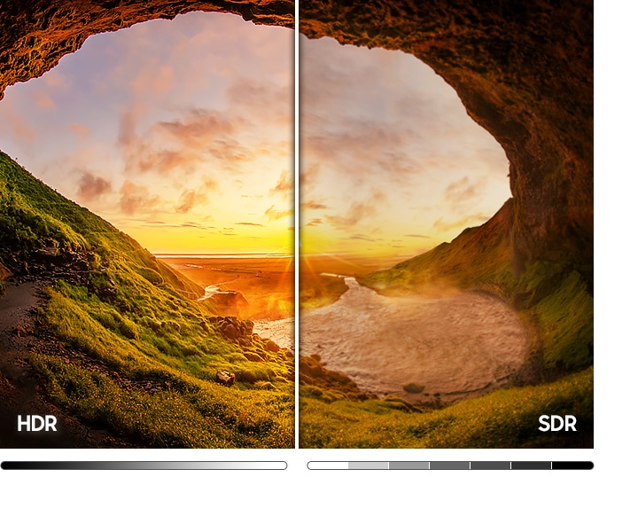 The beach cave image on the left compared to SDR Image on the right shows a wider range of light and dark levels due to HDR technology.