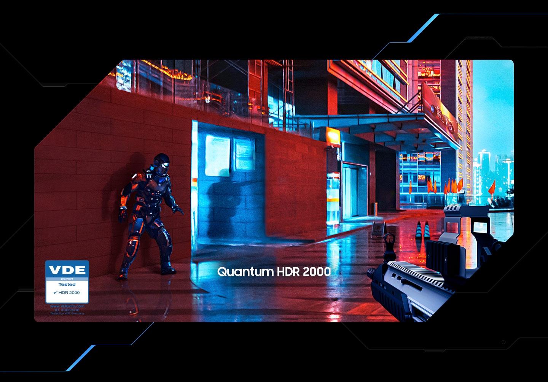วิดีโอแสดงภาพของเกมเดินหน้ายิงมุมมองบุคคลที่หนึ่งที่ให้ภาพด้วยสี †แบบทั่วไป' ที่เน้นให้เห็นตรงปากทางเข้าของตรอกซอยพร้อมกับมีตราสัญลักษณ์ †VDE' แสดงอยู่ตรงมุมของเฟรมภาพ แถบสีขาวดำและแถบสีสองอันขยายยาวและซับซ้อนขึ้นขณะที่ภาพเปลี่ยนจากแบบทั่วไปไปเป็น HDR ซึ่งทำให้มองเห็นเงาศัตรูได้ชัดยิ่งขึ้น