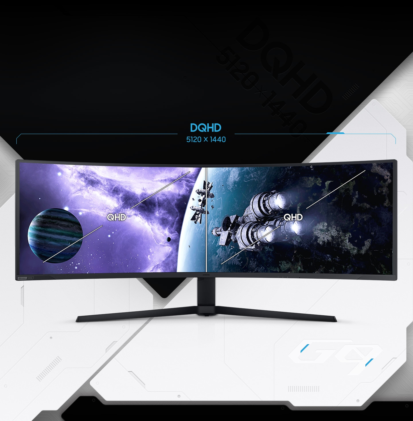 A G95NA monitor is shown with a starship blasting through space towards a light source. The screen is split into two equal sections with †QHD' shown in the middle of each section. Above the monitor a line stretches the length of both sides with the word †DQHD' along with the pixel count of 5120 x 1440.