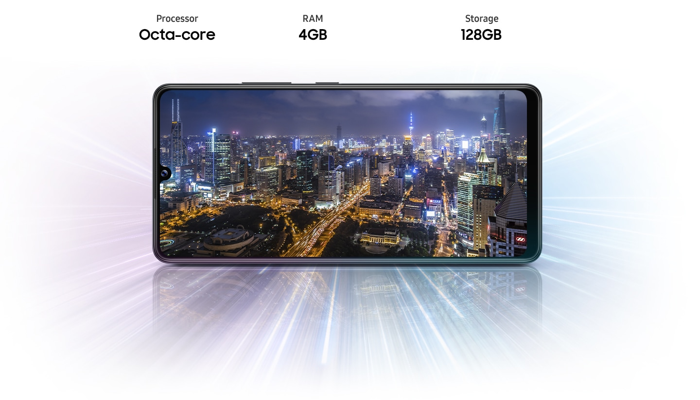 A12 shows night view of city, indicating device offers Octa-core processor, 3GB/4GB/6GB of RAM, 32GB/64GB/128GB of ROM