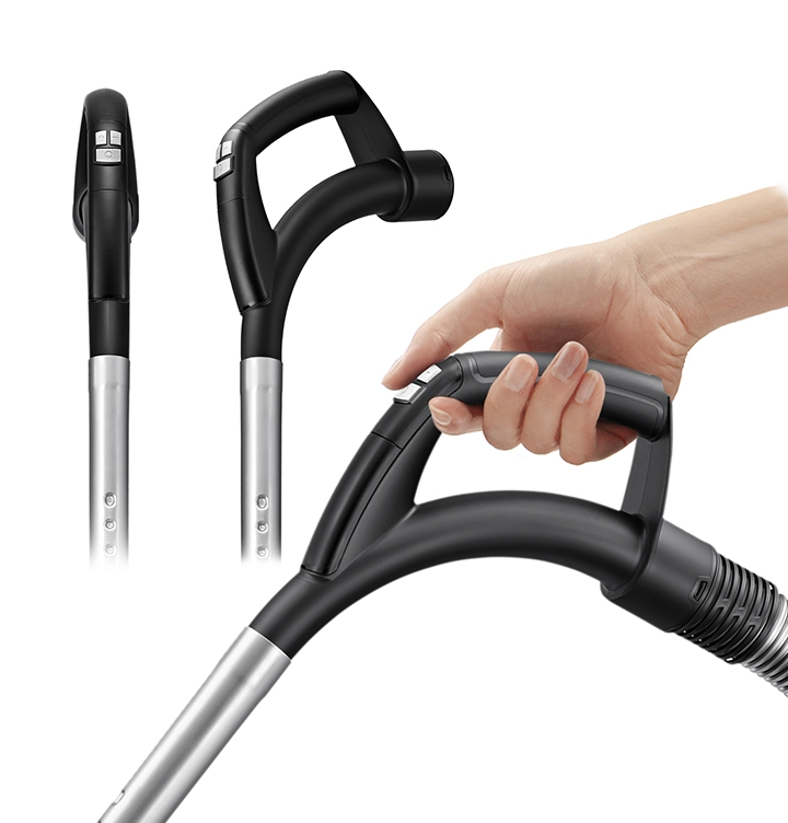The user-friendly handgrip is in three angles - front, side, and diagonal. A hand is holding the side view handle.
