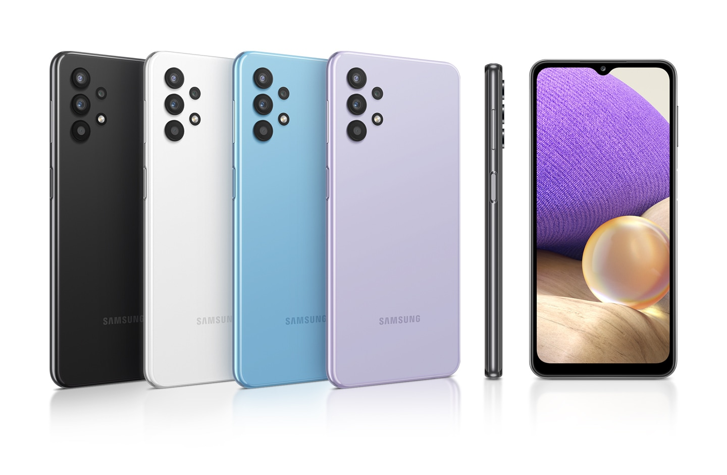 Six phones in Awesome Black, Awesome White, Awesome Blue and Awesome Violet, seen from different angles to show the design.