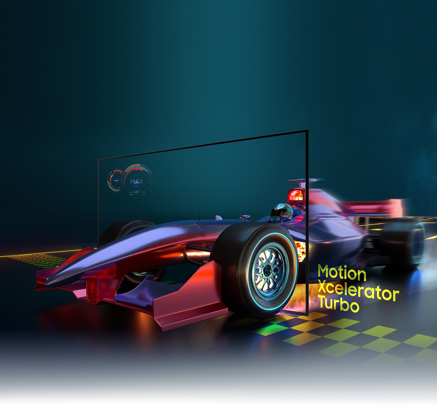 The image of a race car looks clear and visible inside the AU9000 screen due to motion xcelerator turbo technology.