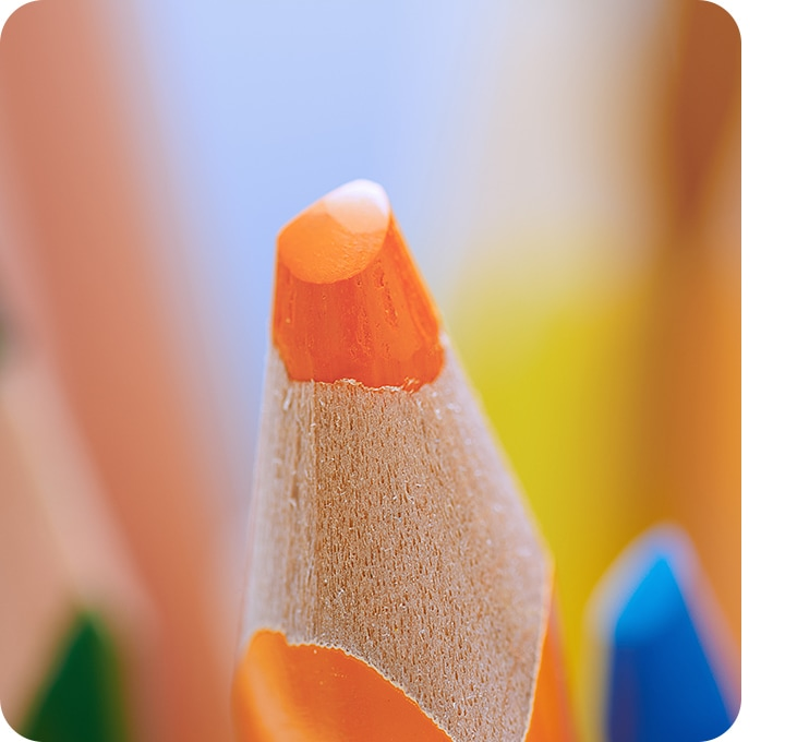 A close-up shot was taken with the Macro Camera, showing the detail of a color pencil tip.
