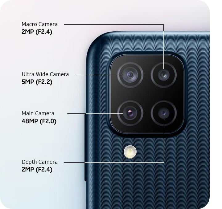 A close-up of Quad Camera with 48MP Main Camera, 2MP Macro Camera, 5MP Ultra Wide Camera and 2MP Depth Camera.