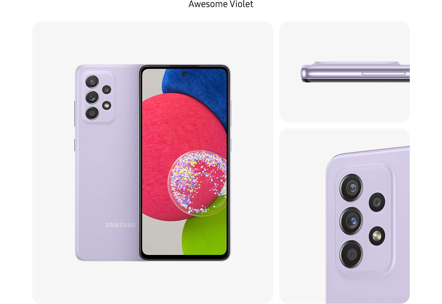 1. VioletGalaxy A52s 5G in Awesome Violet, seen from multiple angles to show the design: rear, front, side and close-up on the rear camera.