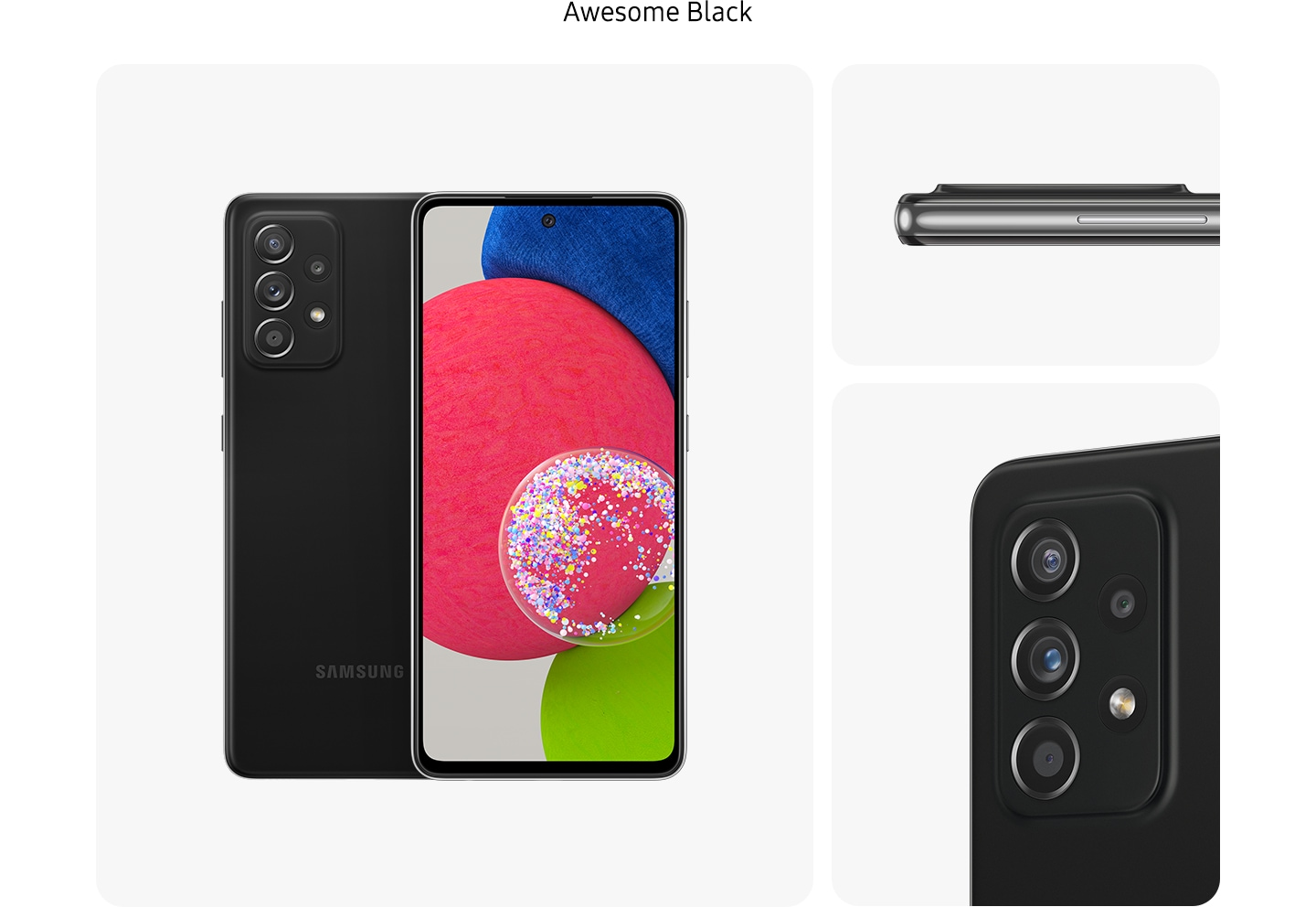 2. BlackGalaxy A52s 5G in Awesome Black, seen from multiple angles to show the design: rear, front, side and close-up on the rear camera.